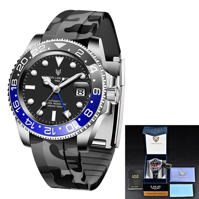 LIGE Men Watches Sapphire Glass 40MM Ceramic GMT Automatic Mechanical Watch Men 100m Waterproof Classic Fashion Luxury Clock