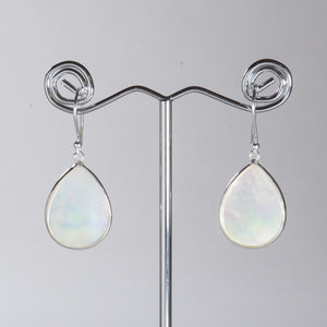 Mother of Pearl Small Pear Earrings Silver