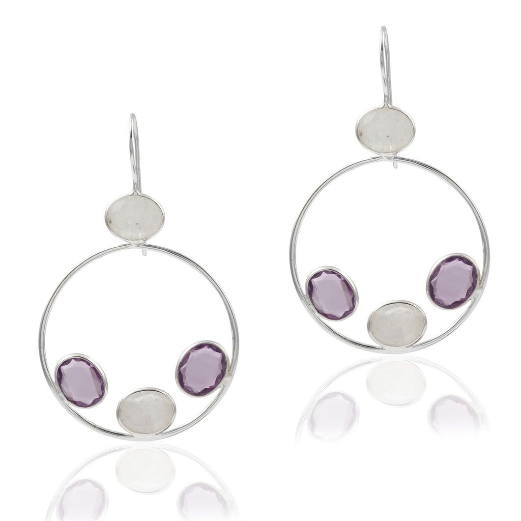 Amethyst and Moonstone Earrings