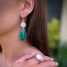 Load image into Gallery viewer, Mother of Pearl and Malachite Earrings