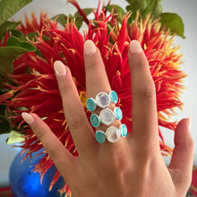 Load image into Gallery viewer, Aqua Chalcedony & Moonstone Ring Silver
