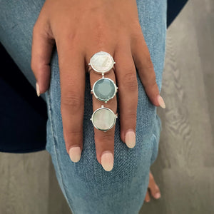 Mother of Pearl Round Ring Silver