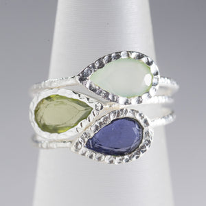 Mixed Stone Ring Stack Silver