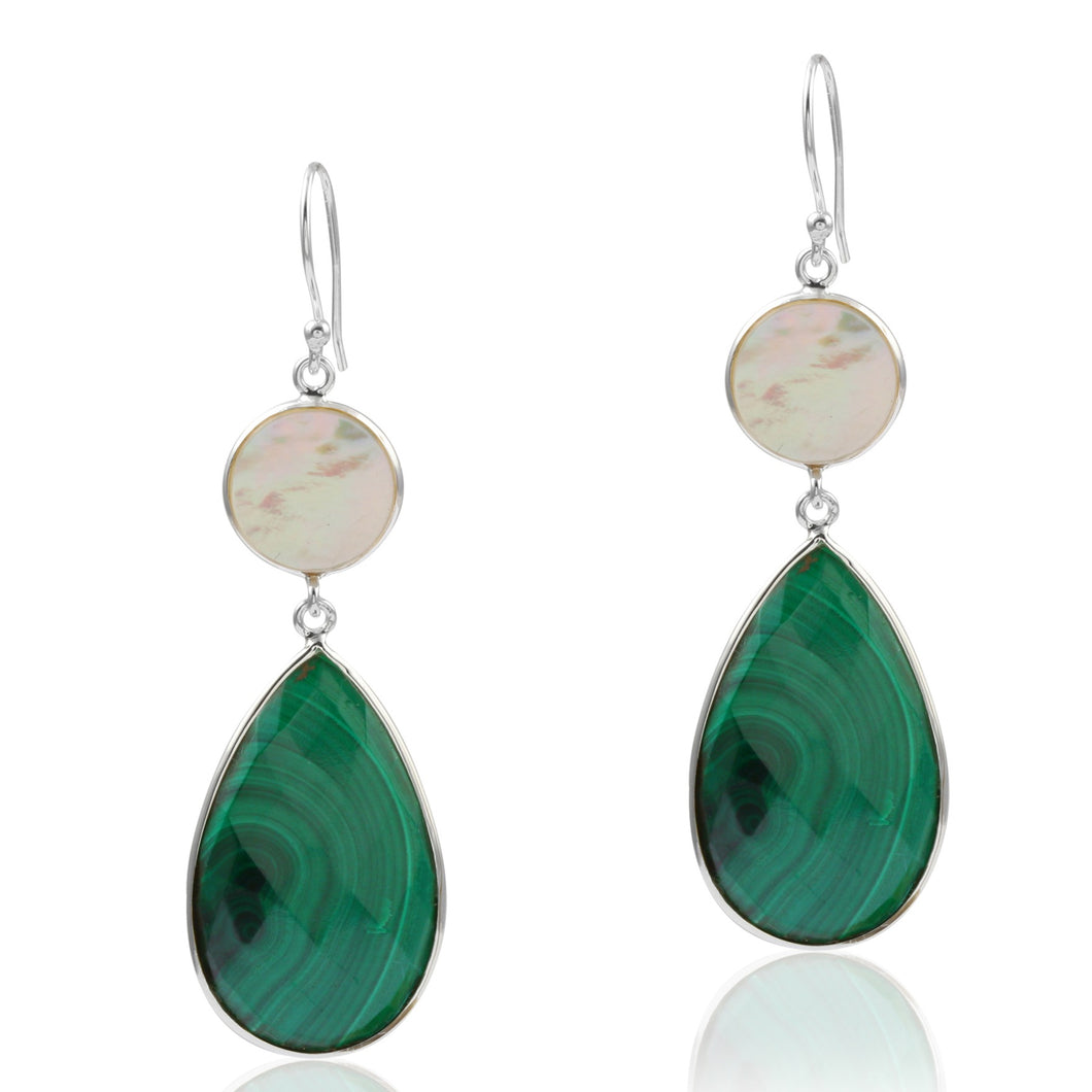Mother of Pearl and Malachite Earrings