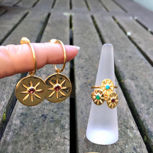Green Onyx Round Star Earrings Gold