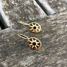 Load image into Gallery viewer, Black Onyx Mini Star Earrings Gold
