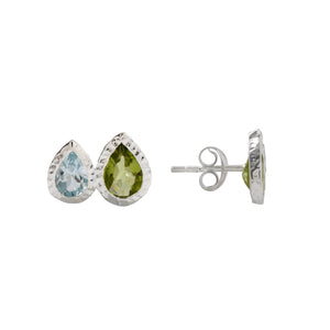 Blue Topaz and Peridot Studs Silver