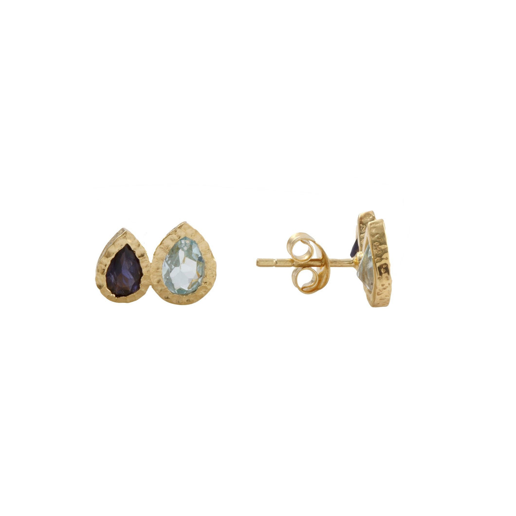 Blue Topaz and Iolite Studs Gold