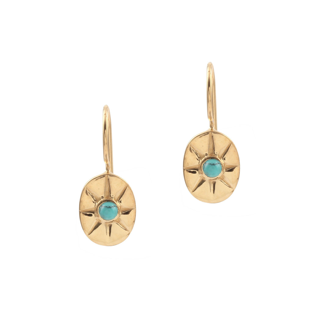 Turquoise Mini Star Earrings Gold