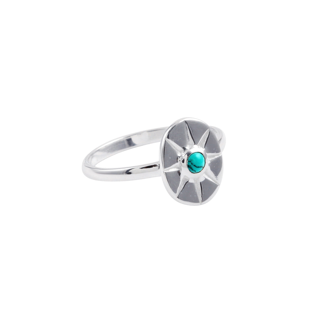 Turquoise Star Ring Silver