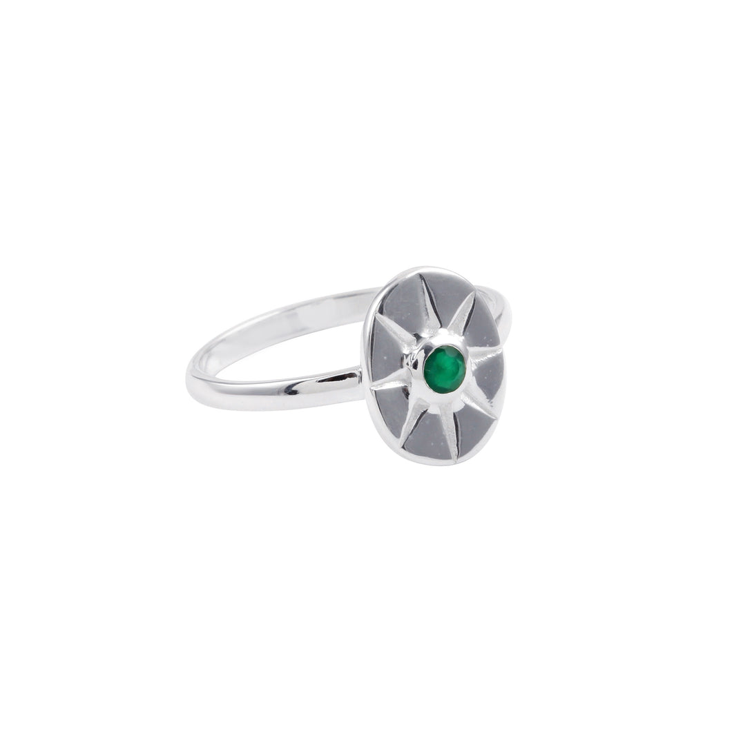 Green Onyx Star Ring Silver