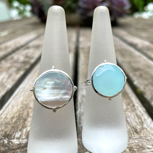 Chalcedony Round Ring Silver