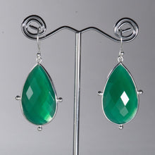 Load image into Gallery viewer, Green Onyx Pear Earrings