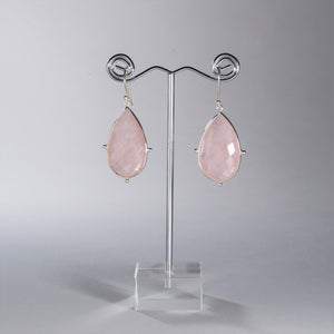 Rose Quartz Pear Earrings Silver