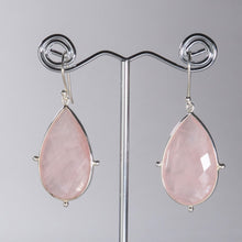 Load image into Gallery viewer, Rose Quartz Pear Earrings Silver