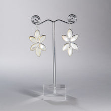 Load image into Gallery viewer, Mother of Pearl Petal Chandelier Earrings Silver