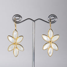 Load image into Gallery viewer, Mother of Pearl Petal Chandelier Earrings Gold