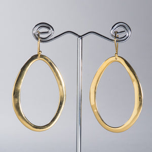 Organic Shaped Hoops Shiny Gold