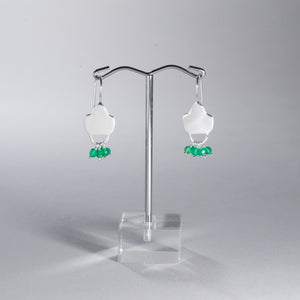 Green Onyx Beaded Earrings Silver