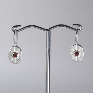 Garnet Mini Star Earrings Silver