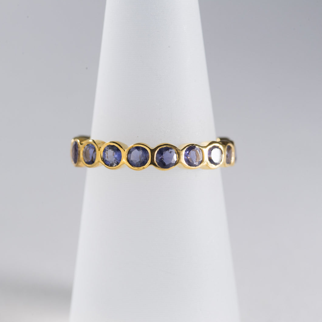 Iolite Eternity Ring Gold
