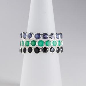 Green Onyx Eternity Ring Silver