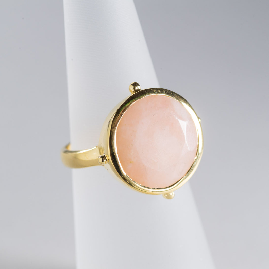 Pink Opal Round Ring Gold