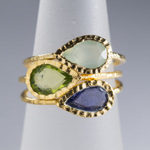 Mixed Stone Ring Stack Gold