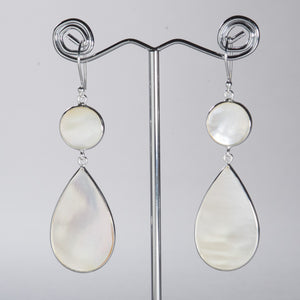 Mother of Pearl Large Pear Earrings Silver