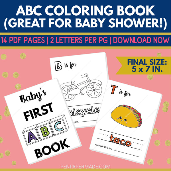 ABC Book Baby Shower Guest Book Idea [5x7 Instant Download]