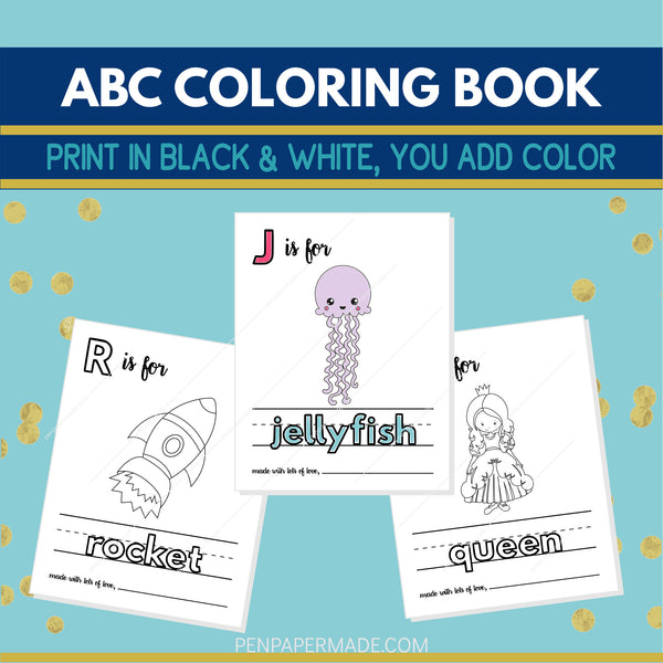 ABC Baby Shower Coloring Pages - Alternative Guest Book [8.5x11 Printable Download]