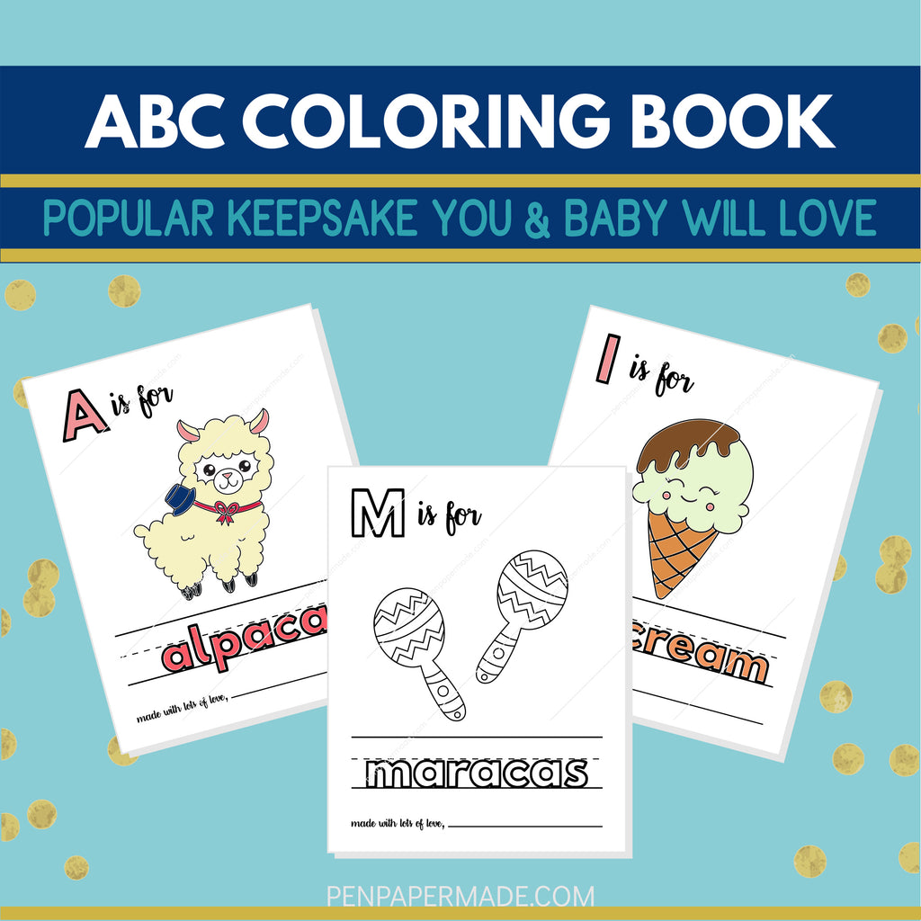 Abc Baby Shower Coloring Pages Alternative Guest Book 8 5x11 Printa Pen Paper Made Store