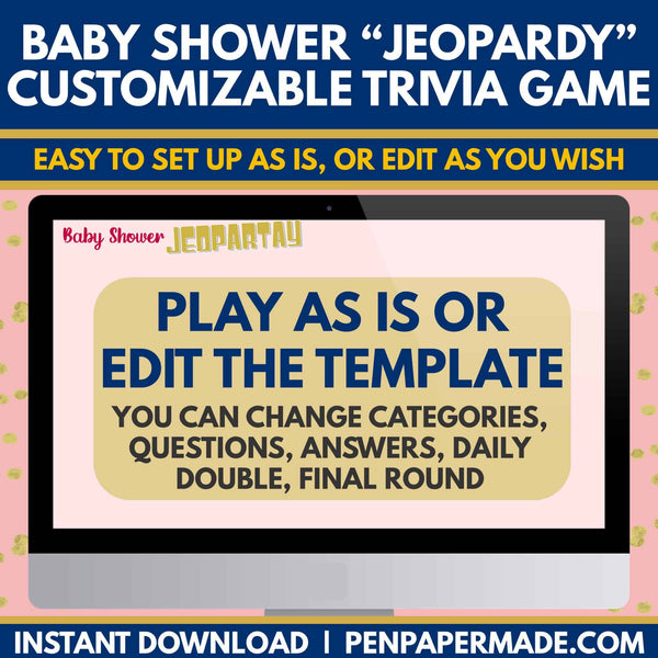 Baby Shower Trivia Jeopardy Game [Pink]