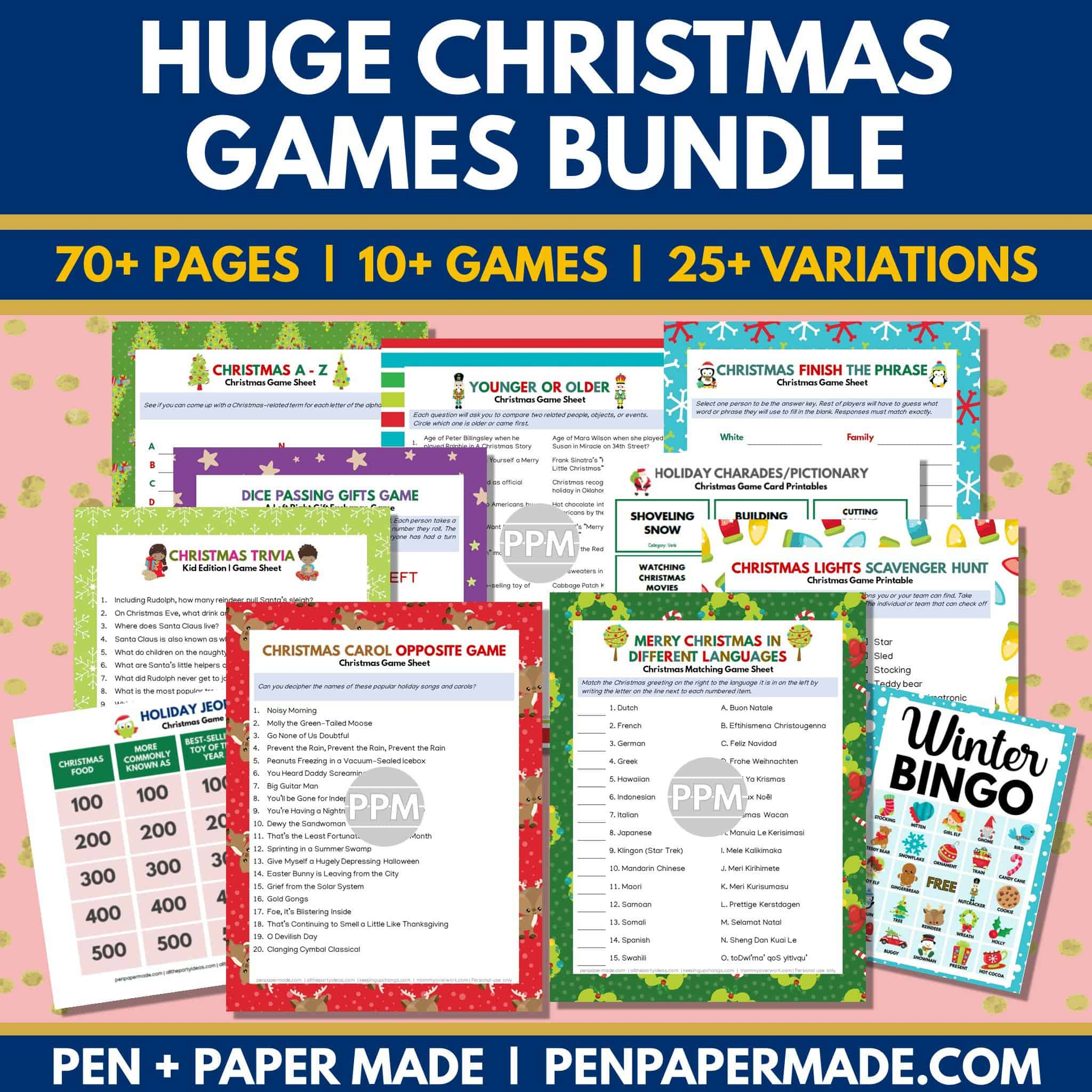 huge christmas game printable bundle