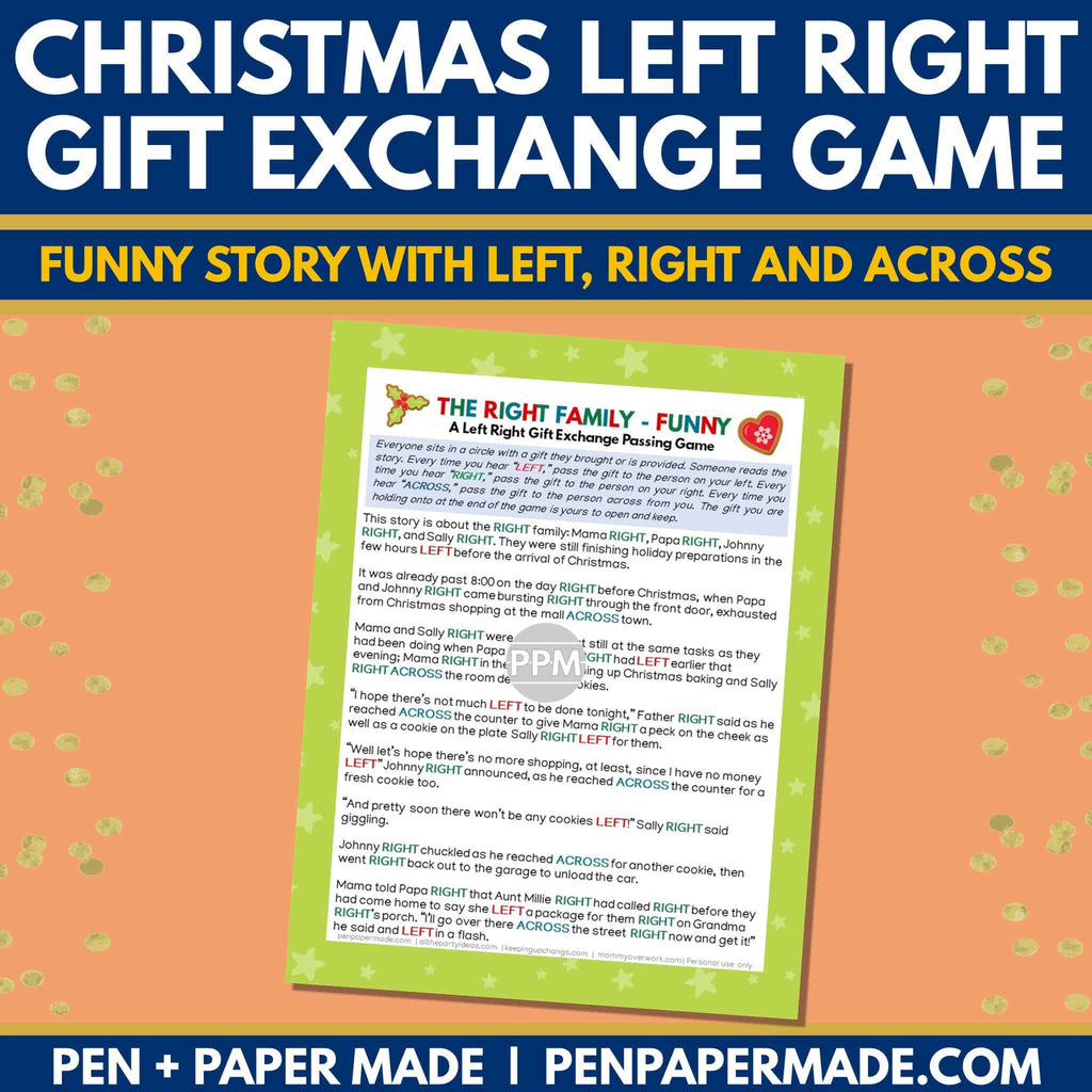 Famous Christmas Right Left Game 5 Fun Versions Pen Paper Made Store
