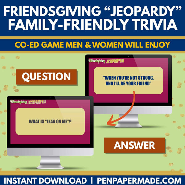 Friendsgiving Jeopardy Trivia Game [CoEd Party Game]