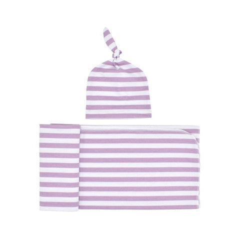 Swaddle Blanket + Cotton Stripe Hat