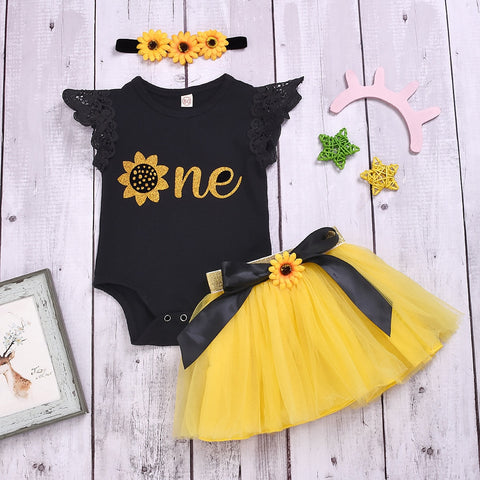 Sunflower Print Tulle Dress With Headband