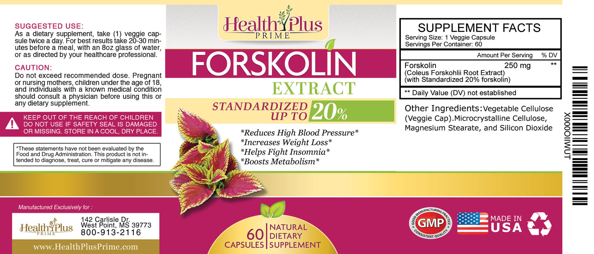 Forskolin Extract Natural Weight Loss Health Plus Prime