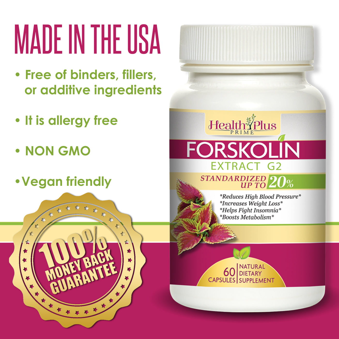 Health Plus Prime Forskolin Extract for Weight Loss Supplement, 60 Pills
