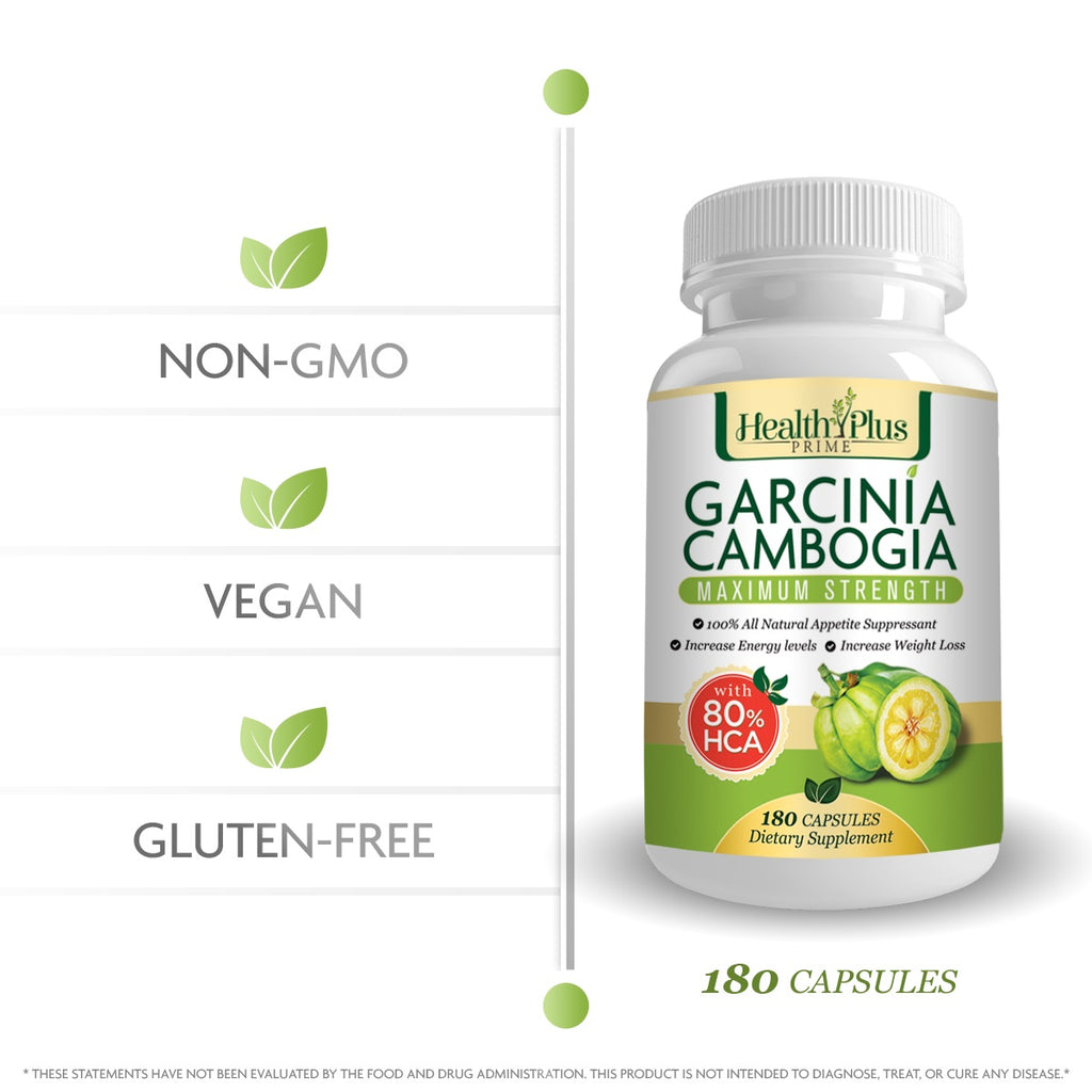 80% HCA PURE GARCINIA CAMBOGIA PREMIUM EXTRACT All Natural Appetite Suppressant and WEIGHT LOSS Supplement Formula. 180 Ultra Easy Swallow Pills. Manufactured In The USA