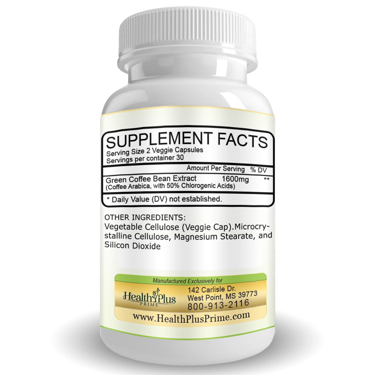 Green Coffee Bean Extract Weight Loss Supplement Health Plus Prime Capsule Pure Arabica Organic 60 Caps