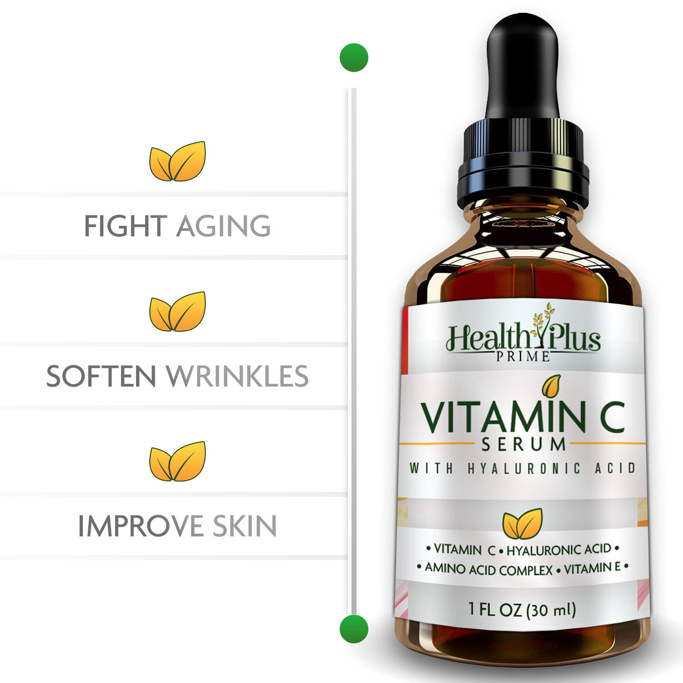 Vitamin C Serum | Facial Vitamin Serum Anti Wrinkle Oil | Pure Vit C Antioxidant Serum | Antiaging Skin Care For Face | Hyaluronic Acid Dark Spot Corrector Oils and Serums