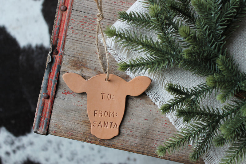 Large Happy Heifer Personalized Gift Tag Ornament