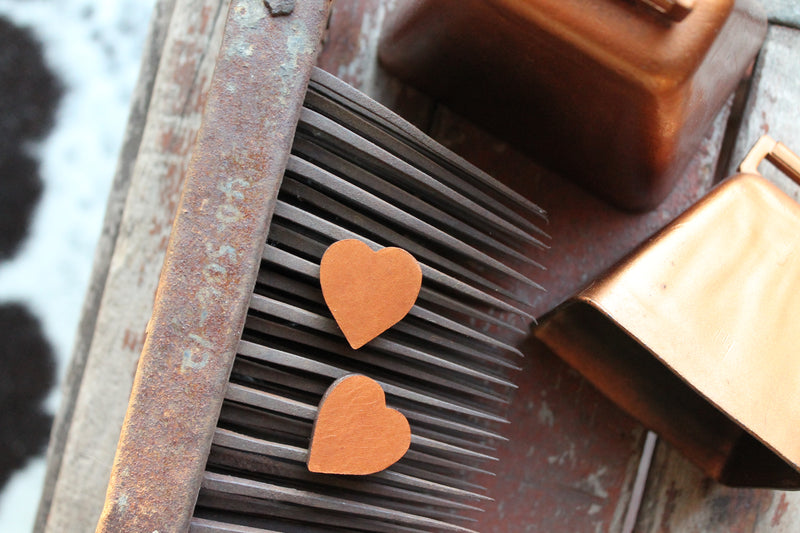 1 in. Heart Stud -- Chestnut Leather