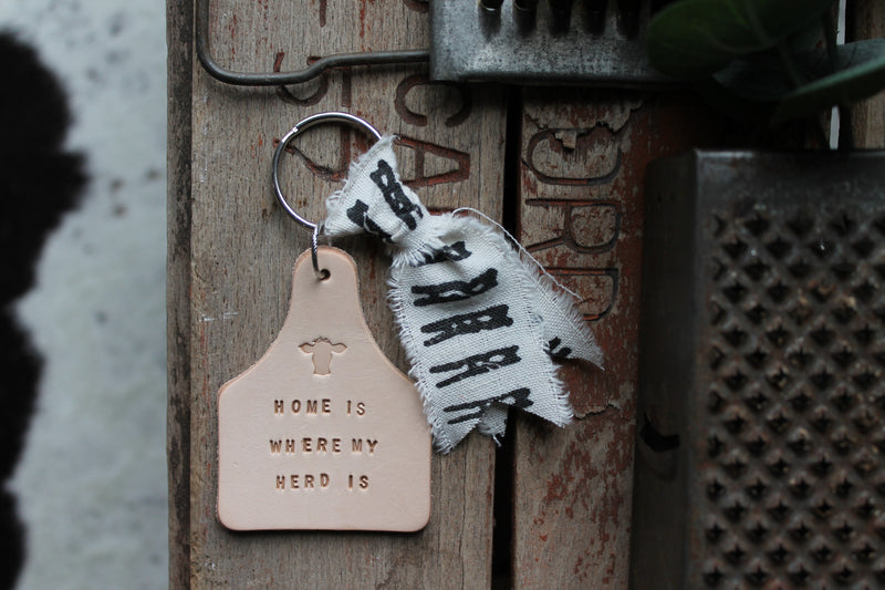 Stamped Eartag Keychain, Home is Where my Herd is