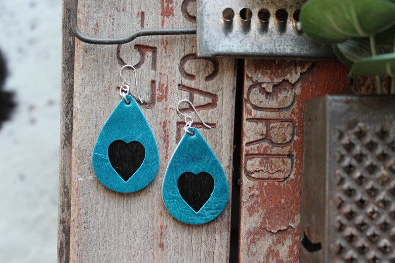 Mini Cowhide Heart Inlay Earrings