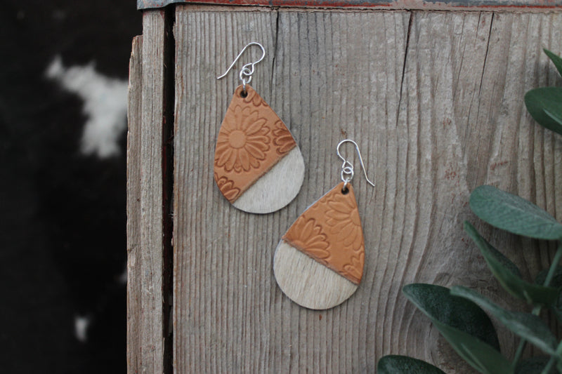 Natural Hand Stamped Sunflower On The Edge Mini Tear Drop Earrings