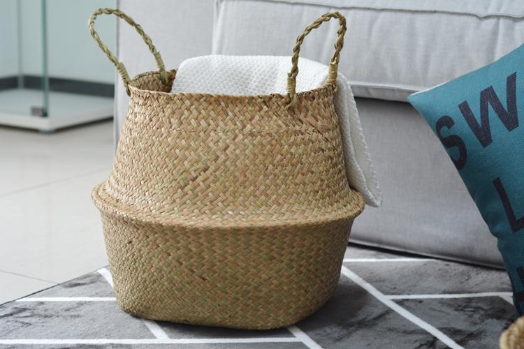 Natural Seagrass Foldable Woven Plant or Storage Basket