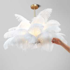Natural Feather Pendant Light
